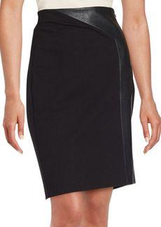 Saks Fifth Avenue BLACK Solid Paneled Pencil Skirt