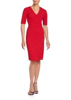Saks Fifth Avenue Solid Wrap Sheath Dress