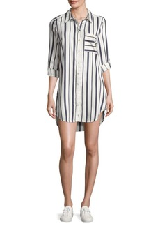 Saks Fifth Avenue Sonata Striped Hi-Lo Shirtdress