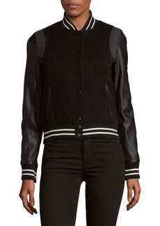 Saks Fifth Avenue Stand Collar Varsity Jacket