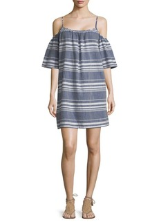 Saks Fifth Avenue Striped Cold-Shoulder Cotton Dress