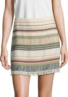 Saks Fifth Avenue Striped Fray Mini Skirt