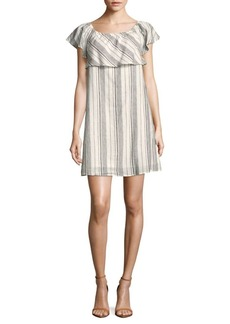 Saks Fifth Avenue BLUE Striped Linen-Blend Popover Dress