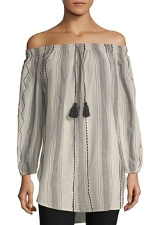 Saks Fifth Avenue Striped Off-The-Shoulder Cotton Top