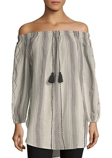 Saks Fifth Avenue Striped Off-The-Shoulder Top