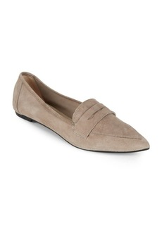 Saks Fifth Avenue Suede Point Toe Penny Flats
