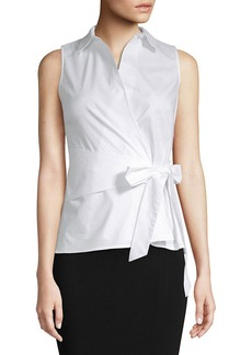 Saks Fifth Avenue Tie Front Poplin Top