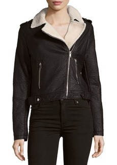 Saks Fifth Avenue Two-Pocket Faux Fur Asymmetric Moto Jacket