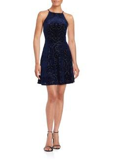 Saks Fifth Avenue Velvet Burnout Halterneck Dress
