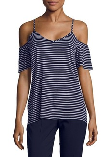 Saks Fifth Avenue Waverly Stripe Cold Shoulder Top