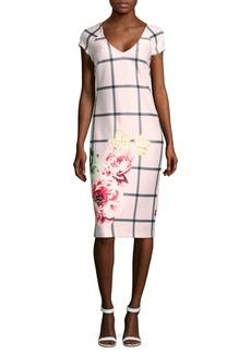 Saks Fifth Avenue Windowpane Printed Sheath Dress