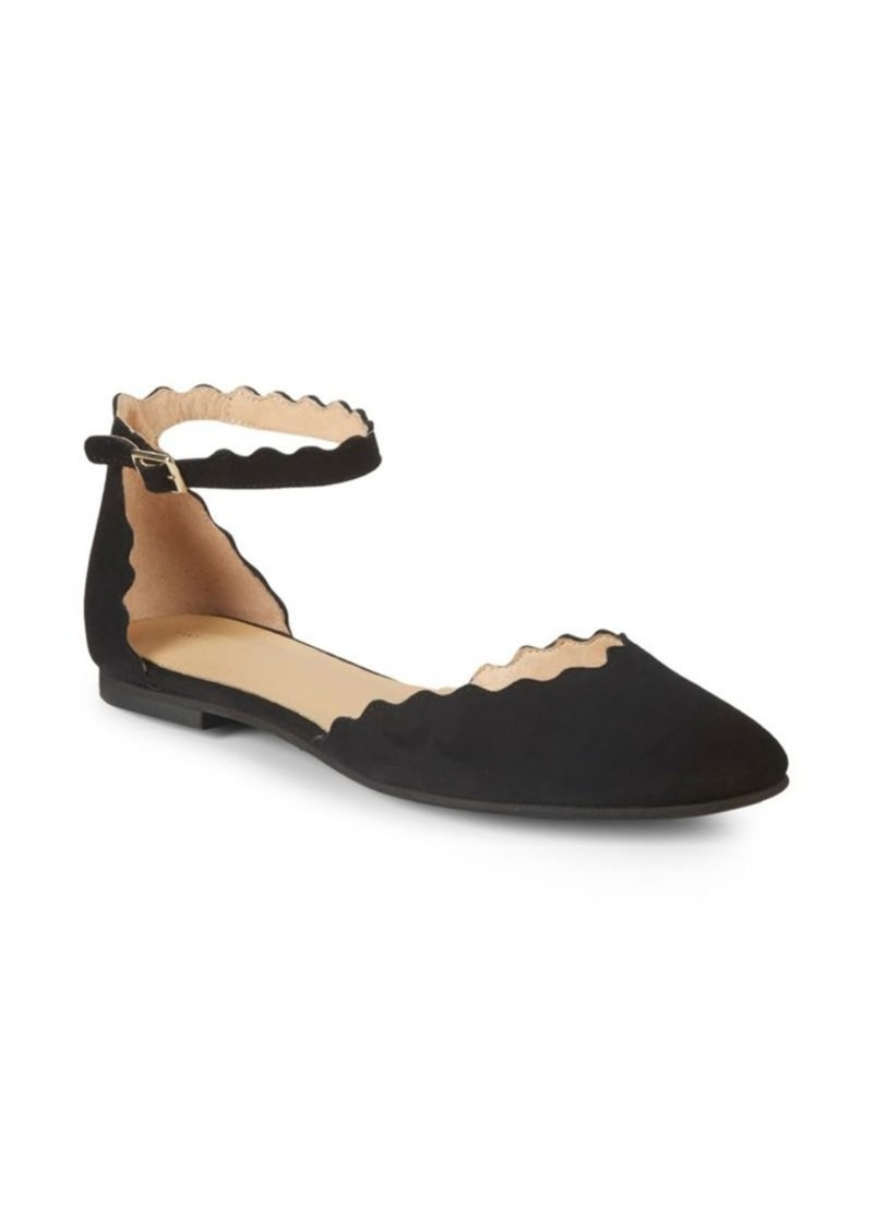 Saks Fifth Avenue Scalloped Suede Flats