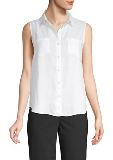 Saks Fifth Avenue Sleeveless Linen Button-Down Shirt