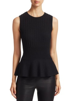 Saks Fifth Avenue Sleeveless Ribbed Wool Peplum Top