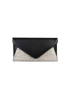 Saks Fifth Avenue Snakeskin-Embossed Leather Envelope Clutch