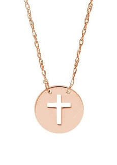Saks Fifth Avenue So You 14K Rose Gold Cutout Cross Mini Disk Necklace
