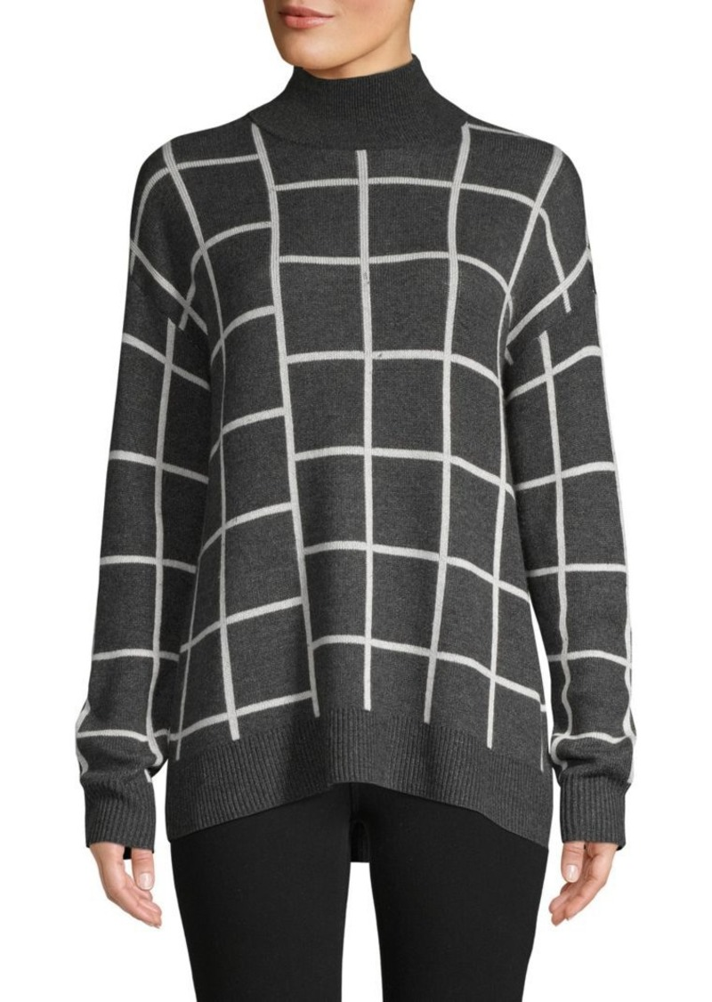Saks Fifth Avenue Spliced Plaid Turtleneck Sweater