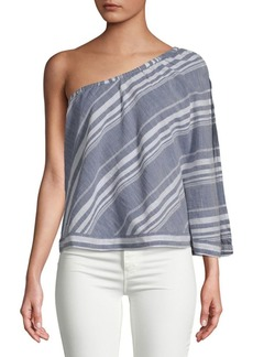 Saks Fifth Avenue Stripe One-Shoulder Cotton Top