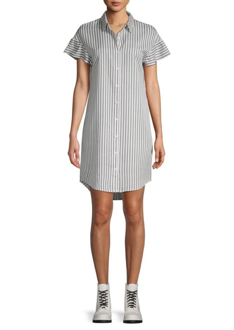 Saks Fifth Avenue Stripe-Print Ruffle-Sleeve Shirtdress