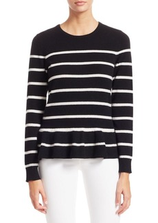 Saks Fifth Avenue COLLECTION Striped Cashmere Peplum Sweater