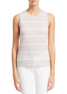 Saks Fifth Avenue COLLECTION Striped Featherweight Cashmere Shell