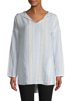 Saks Fifth Avenue Striped Linen Hooded Top