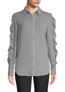 Saks Fifth Avenue Striped Ruffle-Sleeve Shirt