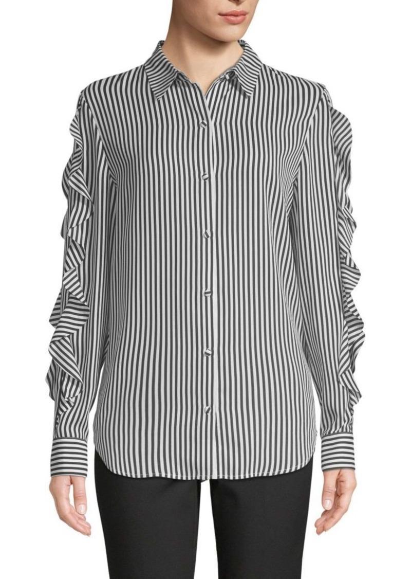 Saks Fifth Avenue Striped Ruffle-Sleeve Shirt