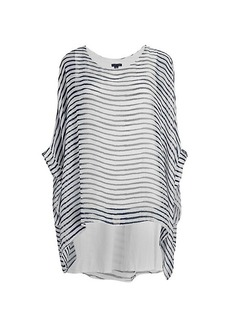 Saks Fifth Avenue Striped Silk Poncho Top
