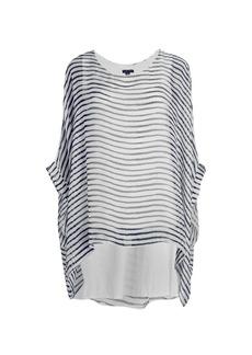 Saks Fifth Avenue Striped Silk Poncho Top