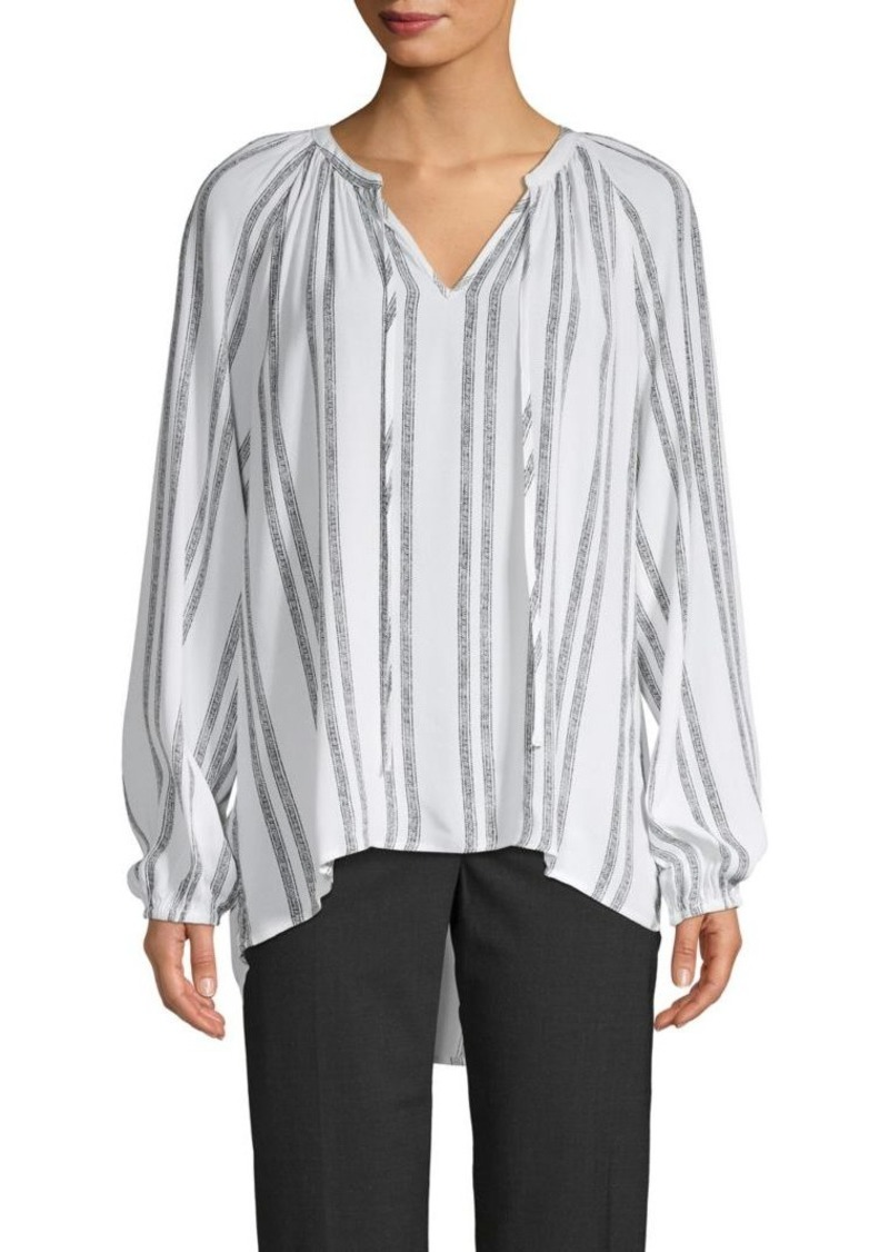 Saks Fifth Avenue Striped Split Neck Top