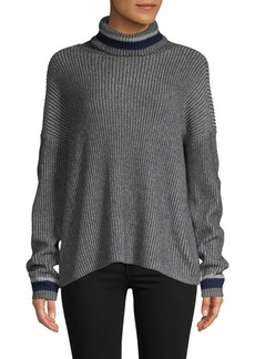 Saks Fifth Avenue Striped-Trimmed Cotton-Blend Sweater