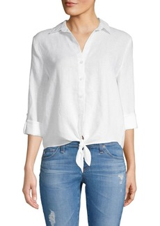 Saks Fifth Avenue Tie-Front Linen Button-Down Shirt
