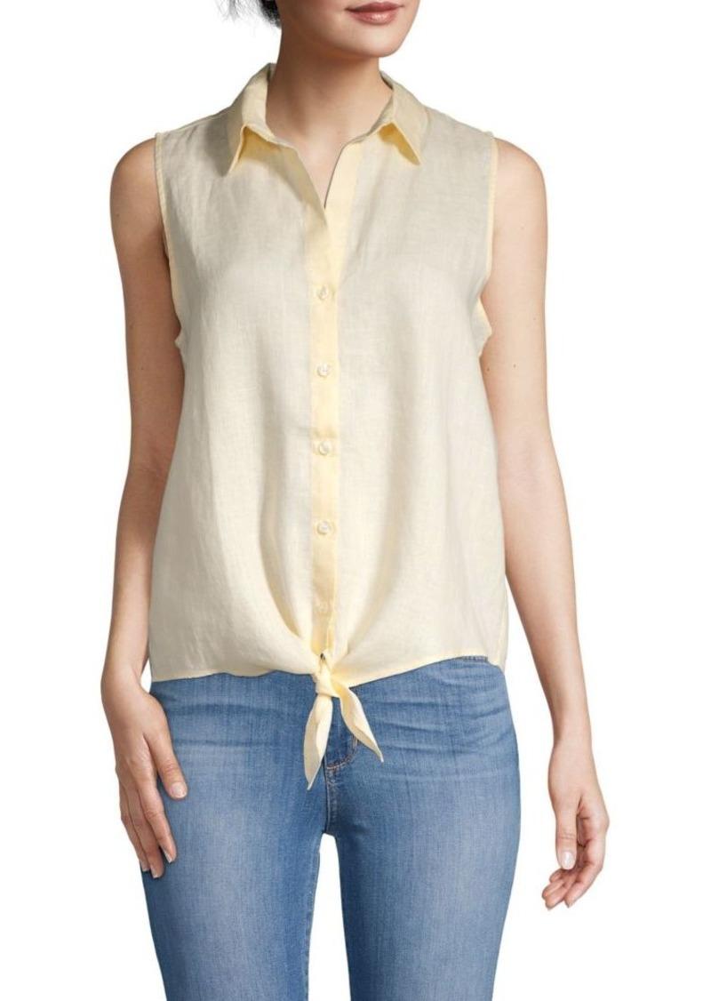 Saks Fifth Avenue Tie Hem Sleeveless Linen Blouse