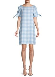 Saks Fifth Avenue Tie-Sleeve Gingham Shift Dress