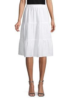 Saks Fifth Avenue Tiered Linen Knee-Length Skirt
