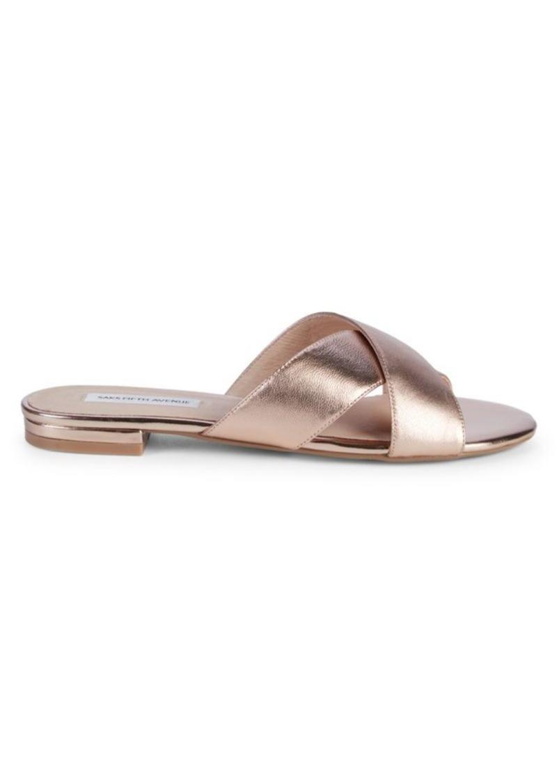 Saks Fifth Avenue Tortuga Leather Slides