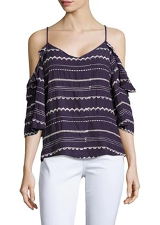 Saks Fifth Avenue V-Neck Embroidered Top