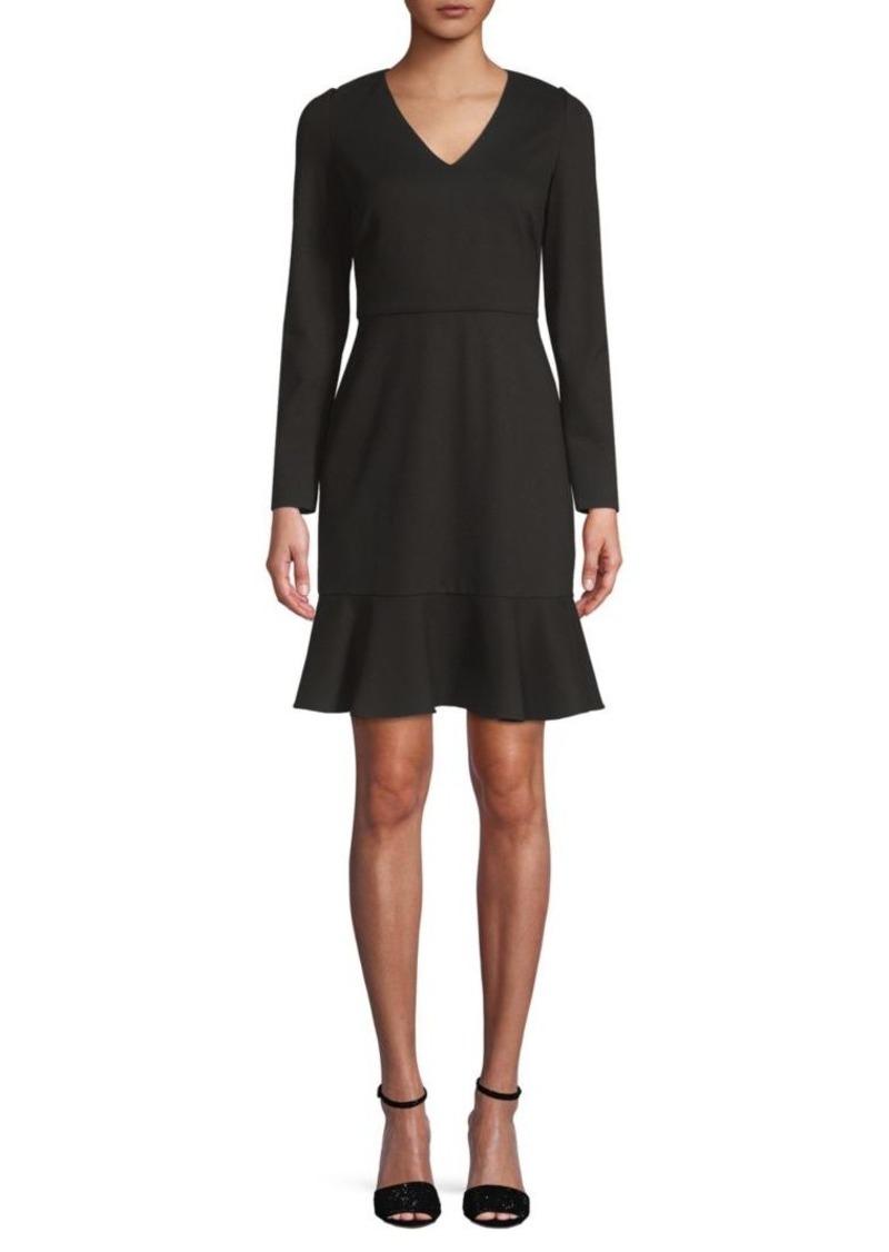 Saks Fifth Avenue V-Neck Long-Sleeve Ponte Dress