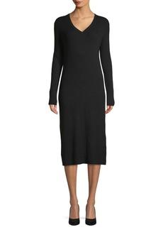 Saks Fifth Avenue V-Neck Ribbed Sweater Dress