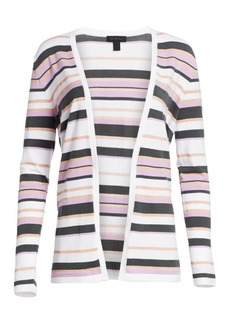 Saks Fifth Avenue Viscose Elite Open Front Striped Cardigan
