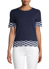 Saks Fifth Avenue Wave Cotton-Blend Tee