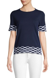 Saks Fifth Avenue Wave-Patterned Short-Sleeve Top