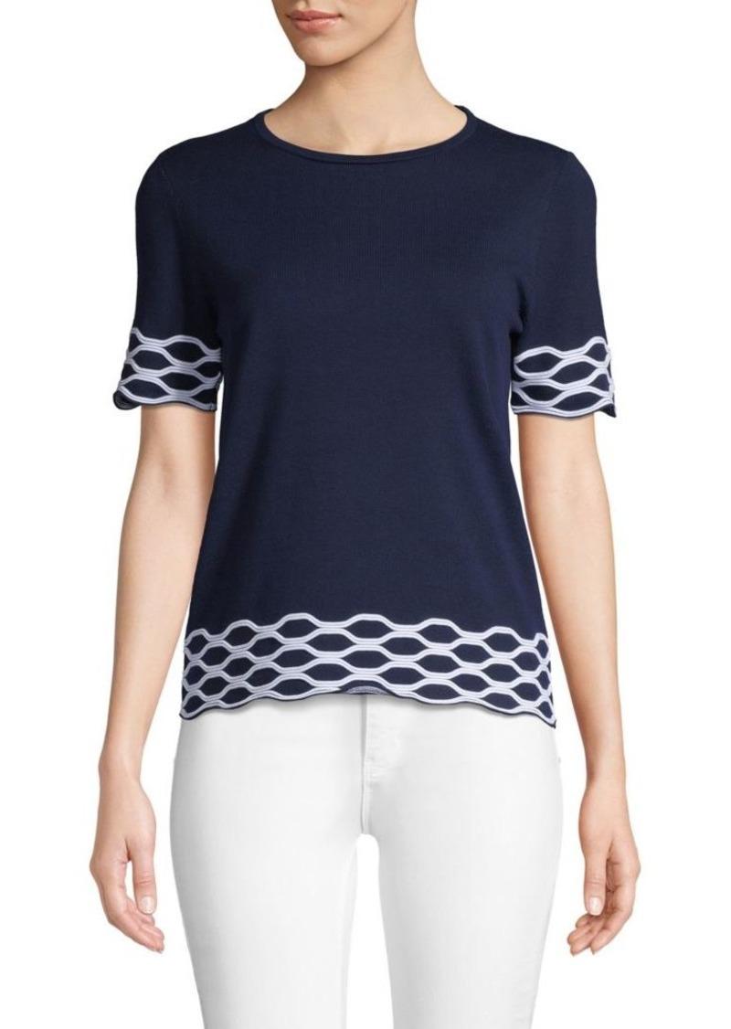 Saks Fifth Avenue Wave-Patterned Short-Sleeve Top