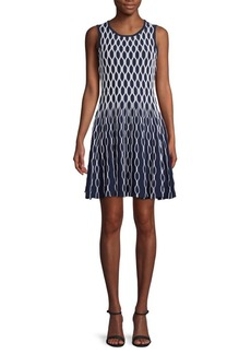 Saks Fifth Avenue Wavy Print Knit Fit-And-Flare