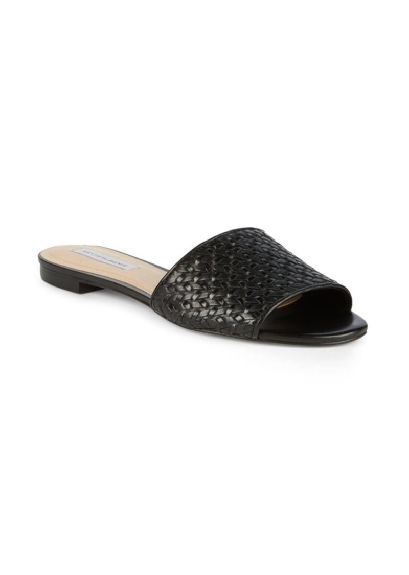 Saks Fifth Avenue Woven Leather Slides