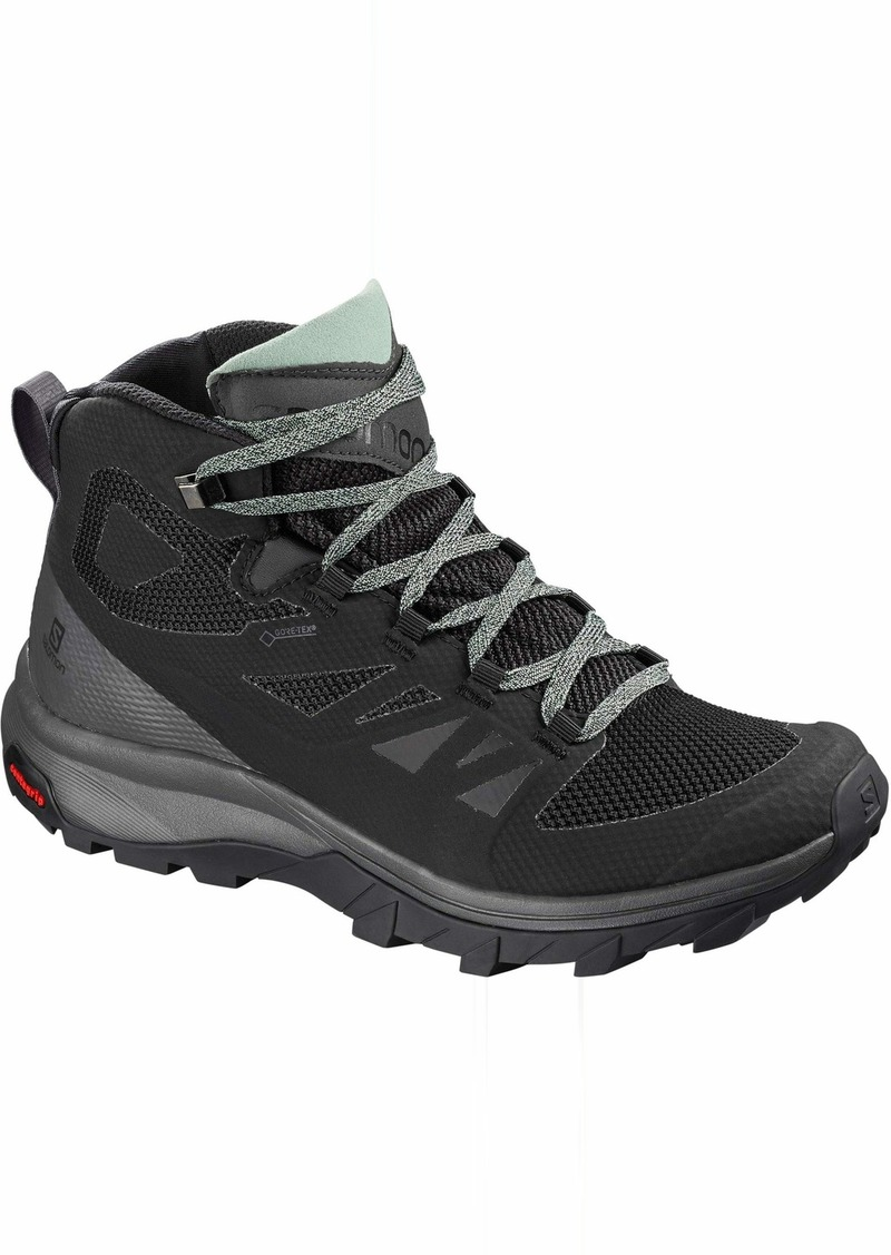 SALOMON OUTLINE MID GTX WOMEN'S HIKING SHOES BLACK/MAGNET/GREEN MILIEU SZ