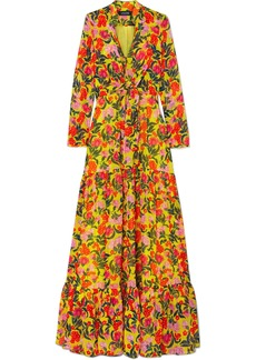 Saloni Alexia Tiered Floral-print Silk-chiffon Maxi Dress