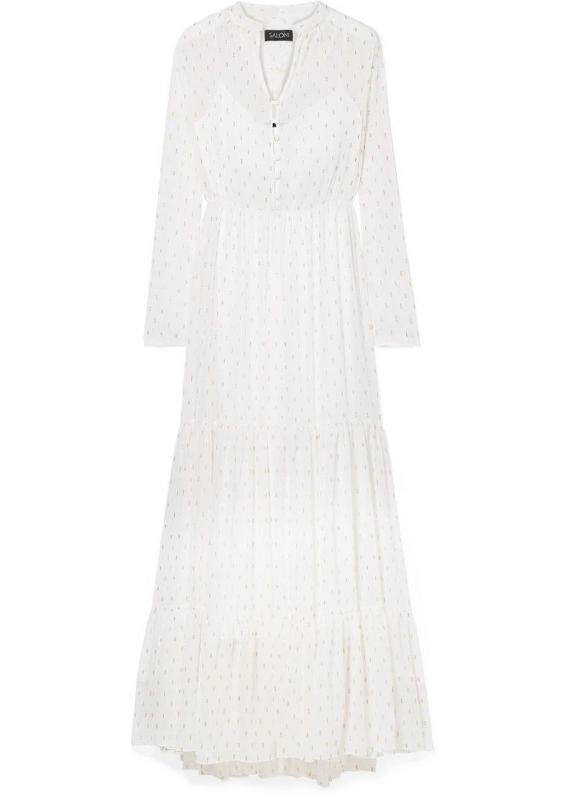 Saloni Alexia Tiered Metallic Crinkled-georgette Maxi Dress