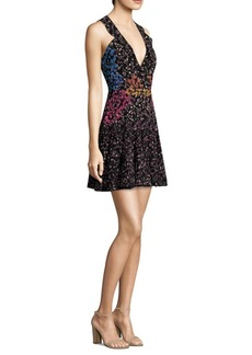 Saloni Amy Floral-Print Silk Dress